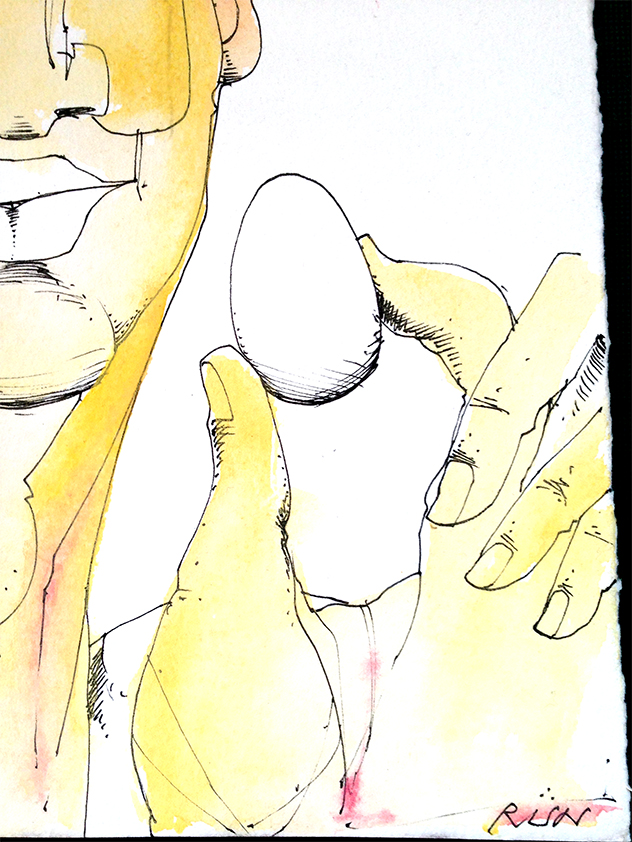 RUN Sketch-Man, Egg, Saucepan (Detail Signature)