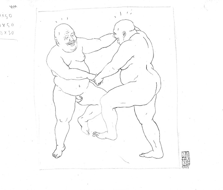 UNGA Sketch-Two Dancing Men Scan
