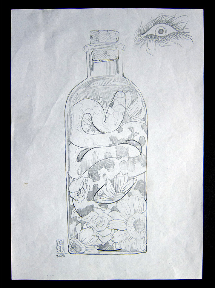 Deso Sketch-Snake In A Bottle