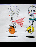 Hin Sketch-Boris and Farage Space Hopper Race