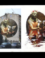 Borondo's preparatory for the wall in Lodz Murals