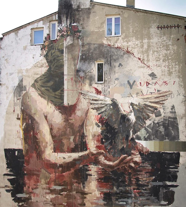 Lodz Murals finished wall close up by Gonzalo Borondo Photo by Lodz Murals