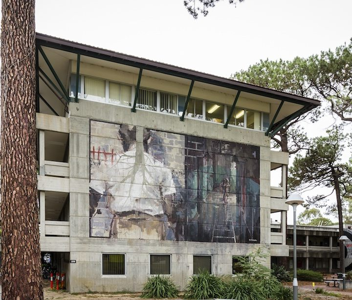 Borondo's PUBLIC finished mural for the PUBLIC Festival at the Curtin's University in Perth (Australia) in April 2016 Photo by Luke Shirlaw