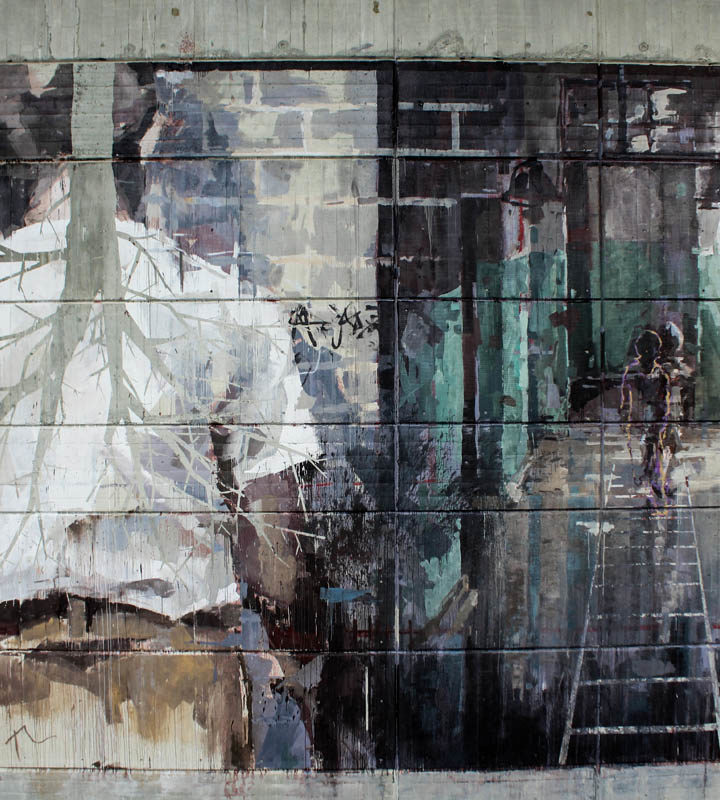 Borondo's finished mural close up for the PUBLIC Festival at the Curtin's University in Perth (Australia) in April 2016 Photo by Luke Shirlaw