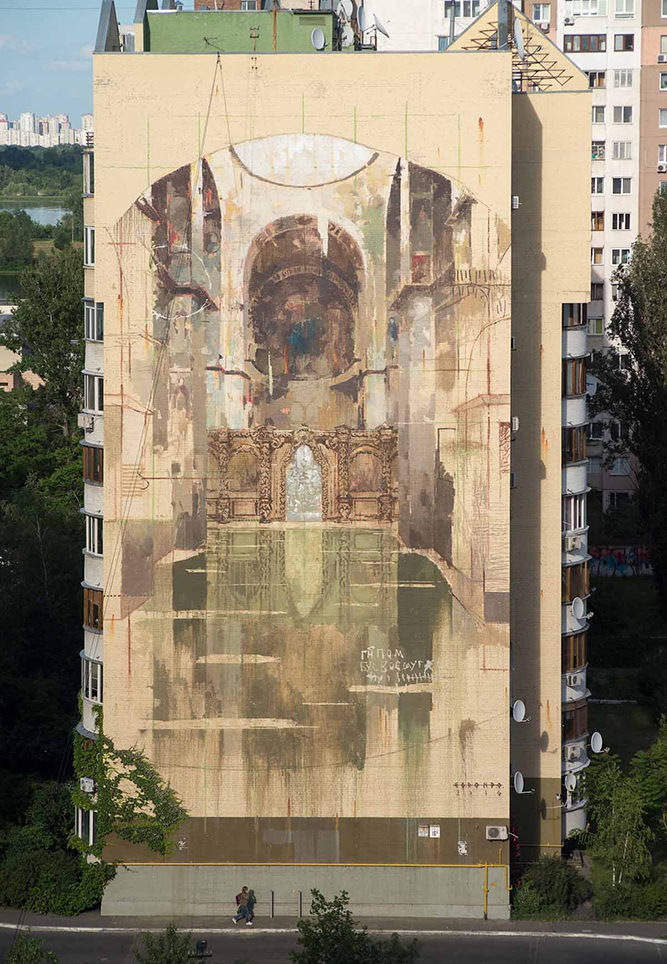 Mural Social Club finished wall by Gonzalo Borondo Photo by Maksim Belousov