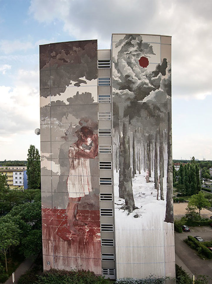 Wilkommen finished mural by Gonzalo Borondo Photo by Nika Kramer